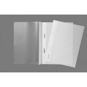 Папка-скоросшиватель А4, пластик/прозрачный верх, белая