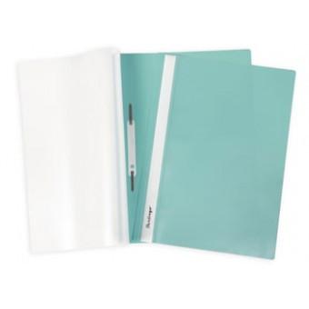 Папка-скоросшиватель А4, пластик/прозрачный верх, бирюзовая