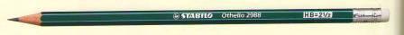 Карандаш простой HB, с ластиком, зеленый корпус Stabilo