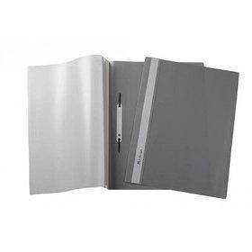 Папка-скоросшиватель А4, пластик/прозрачный верх, серая