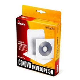 Конверт для 1CD/DVD, 128x128мм, белый бумажный Aidata