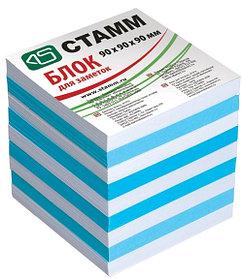 Блок для заметок 2-х цветный 9х9х9 голубой