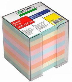 Блок для заметок 9*9*9 цветной в пластбоксе