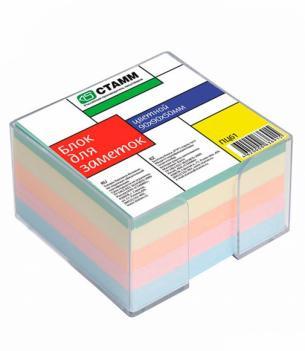 Блок для заметок 9*9*5 цветной в пластбоксе