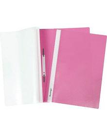 Папка-скоросшиватель А4, пластик/прозрачный верх, розовая