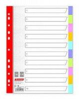 Разделитель 1-12, А4, 13л. пластик, цветной
