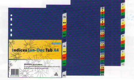 Разделитель 1-31, А4, 32л, пластик, цветной