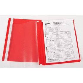Папка-скоросшиватель А4, пластик/прозрачный верх, красная
