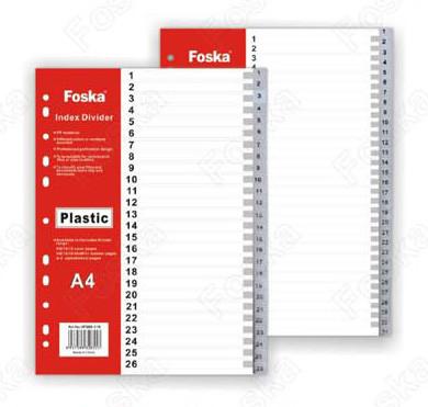 Разделитель 1-10, А4, 11л, пластик, серый