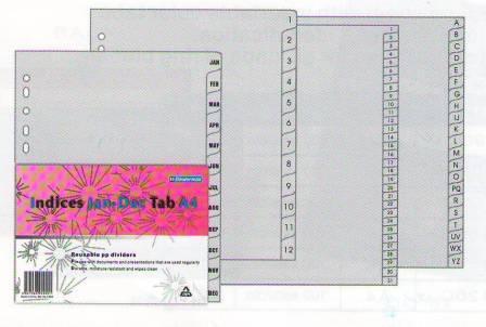 Разделитель 1-12, А4, 13л, пластик, серый