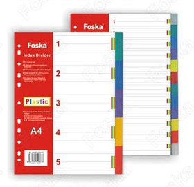 Разделитель 1-12, А4, 12л, пластик, цветной