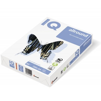 Бумага А4, IQ-allround 80гр./м2, класс B+ 500л., белизна 160%