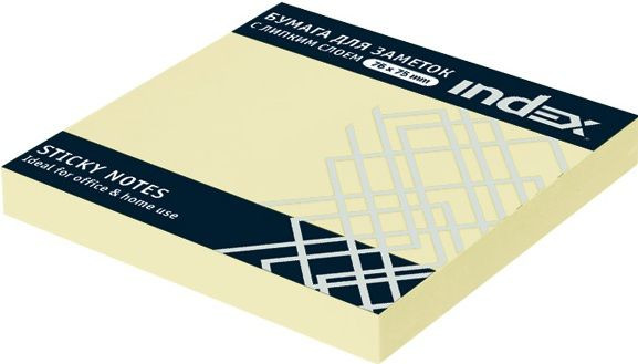 Бумага для заметок с липким слоем,  разм. 76х75 мм, желтая, 100 л.