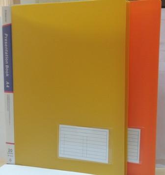 Папка на 20файлов, А4, c с визиткой, желтая, пластик  Bindermax