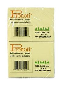 Бумага для заметок 38х51мм, 2штx100л, самоклеющаяся, желтая Pronoti