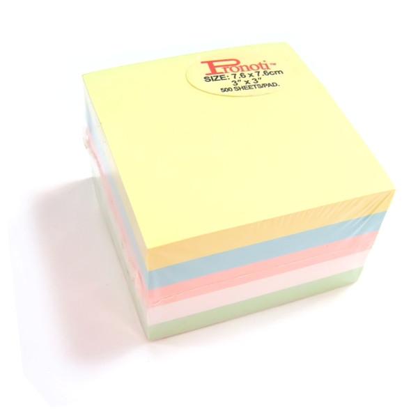 Бумага для заметок 75x75мм, 5цвx100л, самоклеющаяся, пастельные цвета Pronoti