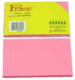 Бумага для заметок 75х127мм, 90л, самоклеющаяся, неоновая розовая Pronoti