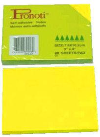 Бумага для заметок 76х102мм, 90л, самоклеющаяся, неоновая желтая Pronoti