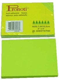 Бумага для заметок 76х102мм, 90л, самоклеющаяся, неоновая зеленая Pronoti