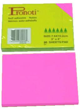 Бумага для заметок 76х102мм, 90л, самоклеющаяся, неоновая розовая Pronoti