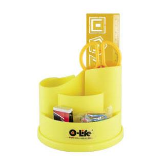 Набор настольный 4 предмета, крутящийся, пластик, желтый O-Life