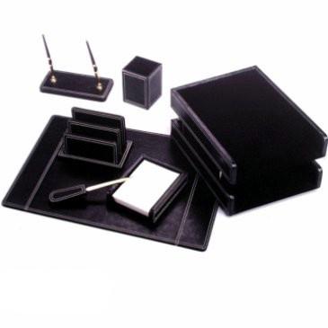 Набор настольный 7 предметов, кожа, черный(отделка металлом под золото) Good Sunrise