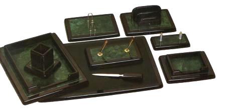 Набор настольный 9 предметов, дерево, черный/зеленый мрамор Grand