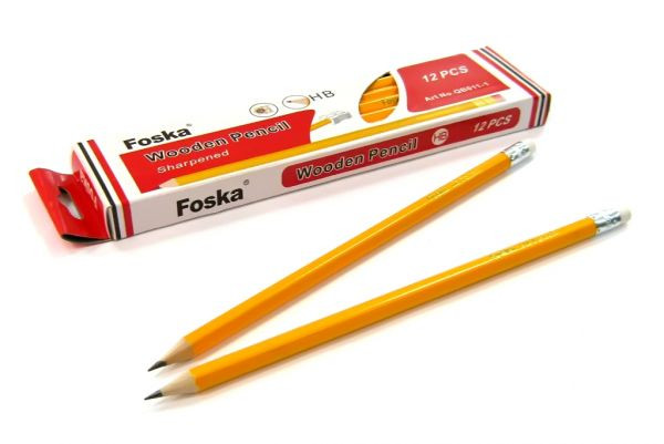Карандаш простой HB, с ластиком, желтый корпус Foska