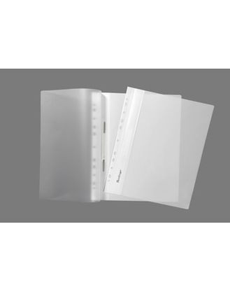 Папка-скоросшиватель с ПЕРФОРАЦИЕЙ  пластик/прозрачный верх А4 белая