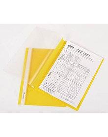 Папка-скоросшиватель с ПЕРФОРАЦИЕЙ  пластик/прозрачный верх А4 желтая