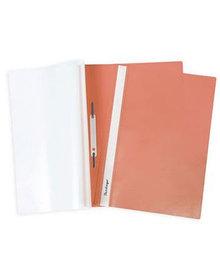 Папка-скоросшиватель с ПЕРФОРАЦИЕЙ  пластик/прозрачный верх А4 оранжевая