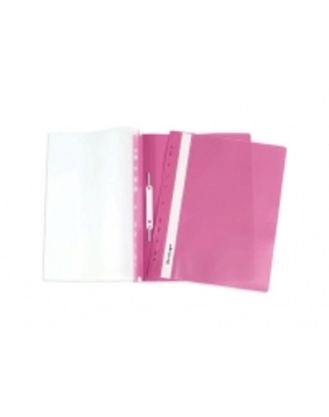 Папка-скоросшиватель с ПЕРФОРАЦИЕЙ  пластик/прозрачный верх А4 розовая