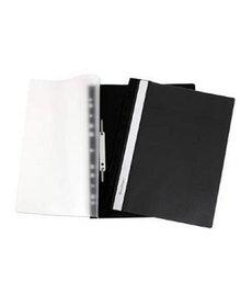 Папка-скоросшиватель с ПЕРФОРАЦИЕЙ  пластик/прозрачный верх А4 черная