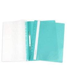 Папка-скоросшиватель с ПЕРФОРАЦИЕЙ пластик/прозрачный верх А4 зеленая