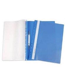 Папка-скоросшиватель с ПЕРФОРАЦИЕЙ пластик/прозрачный верх А4 синяя