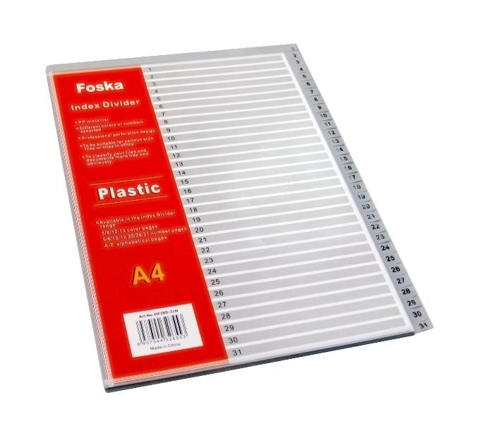 Разделитель 1-31, А4, 32л, пластик, серый Foska