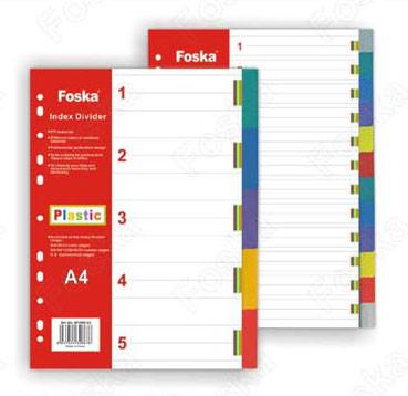 Разделитель 1-5, А4, 5л, пластик, цветной Foska