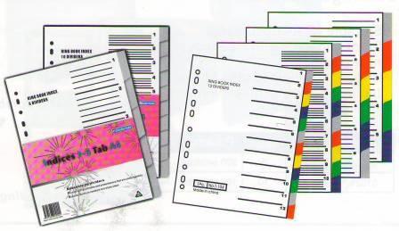 Разделитель 1-5, А4, 6л, пластик, цветной Bindermax
