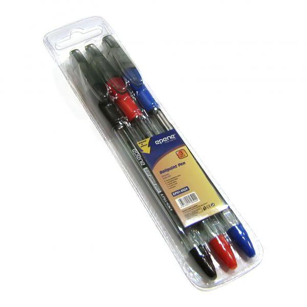 Ручка шариковая, 0.7мм, набор 3шт, корпус прозрачный, с резиновым упором для пальцев Epene