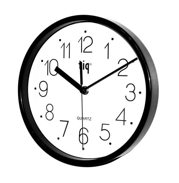 Часы d=22,5см, круглые, черные, пластиковые Tig
