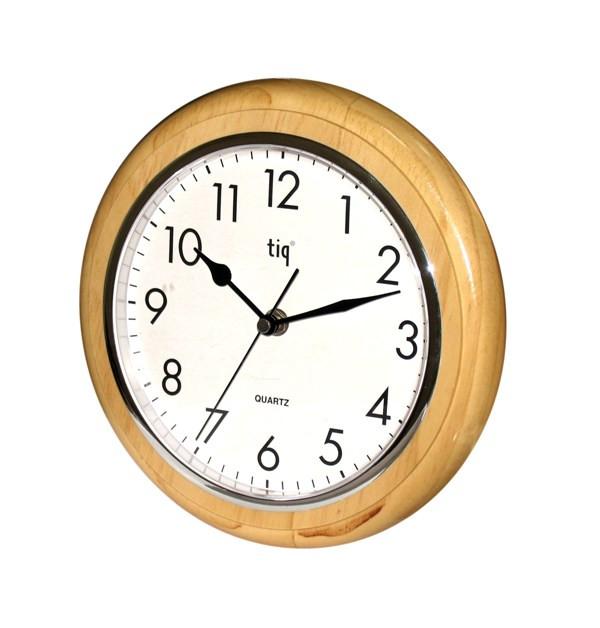 Часы d=23см, круглые, бат.АА, деревянные Tig
