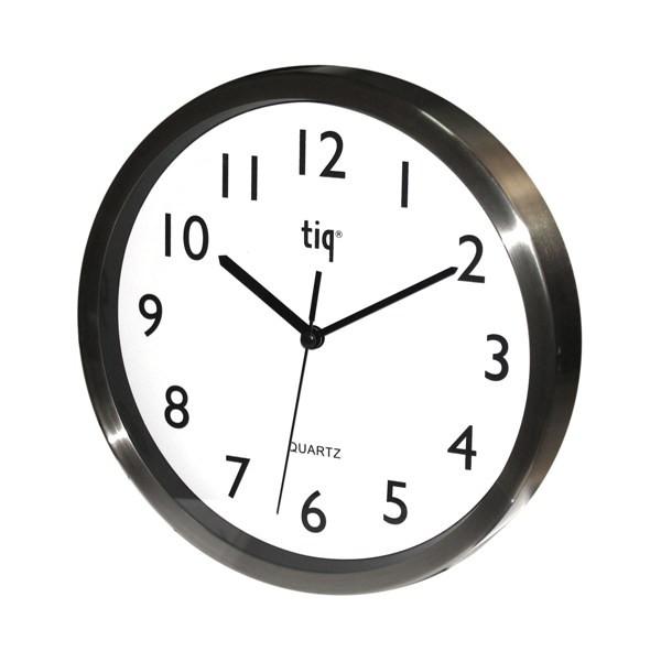 Часы d=25см, круглые, серый металлик, алюминий Tig