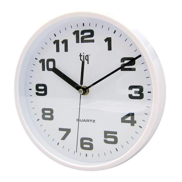Часы d=30,5см, круглые, белые, пластиковые Tig