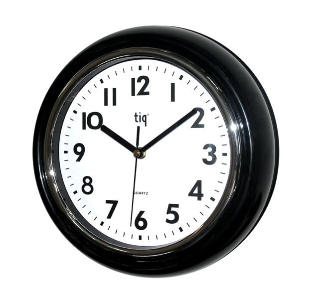 Часы d=30см, круглые, объемные, черные, пластиковые Tig