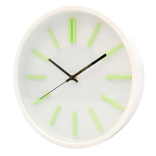 Часы d=31,0см, круглые, белые, белый циферблат, зеленые цифры, без лого, пластиковые Tig