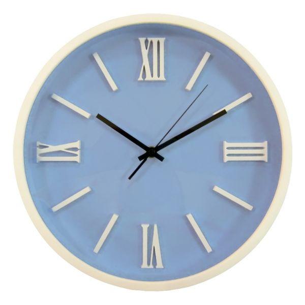 Часы d=31,0см, круглые, белые, голубой циферблат, белые цифры, без лого, пластиковые Tig