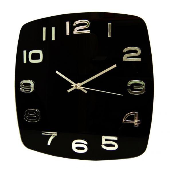 Часы d=31,5см, квадратные, черные, без лого, стекляные Tig
