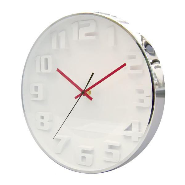 Часы d=33,7cм, круглые, хромированные, белый циферблат с цветными стрелками, без лого Tig