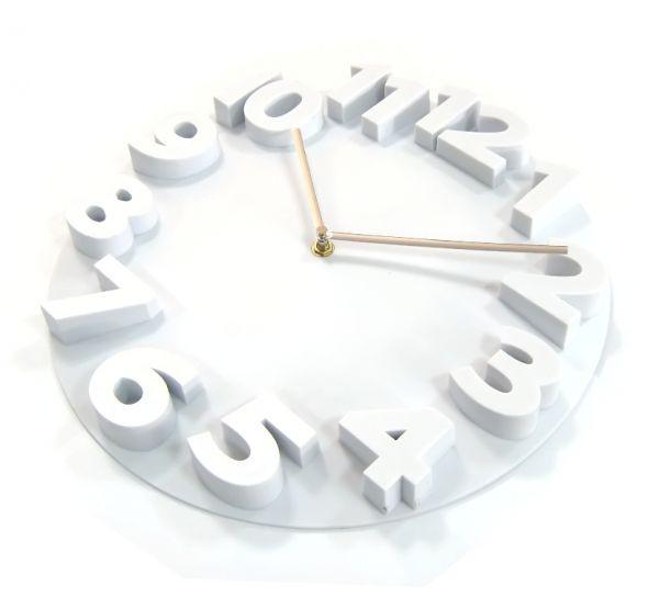 Часы d=36см, круглые, белые, объемные цифры, пластиковые Tig