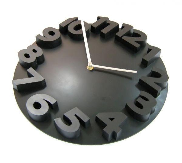 Часы d=36см, круглые, черные, объемные цифры, без лого, пластиковые Tig